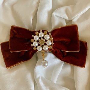 Velvet Hair Bow Tie Barrette